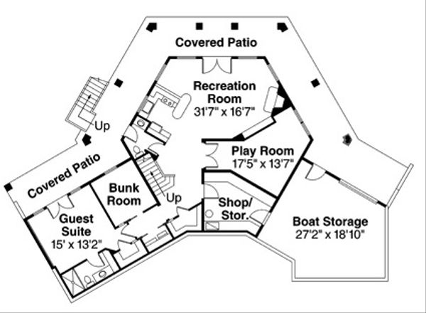 Contemporary Floor Plan - Upper Floor Plan Plan #124-850