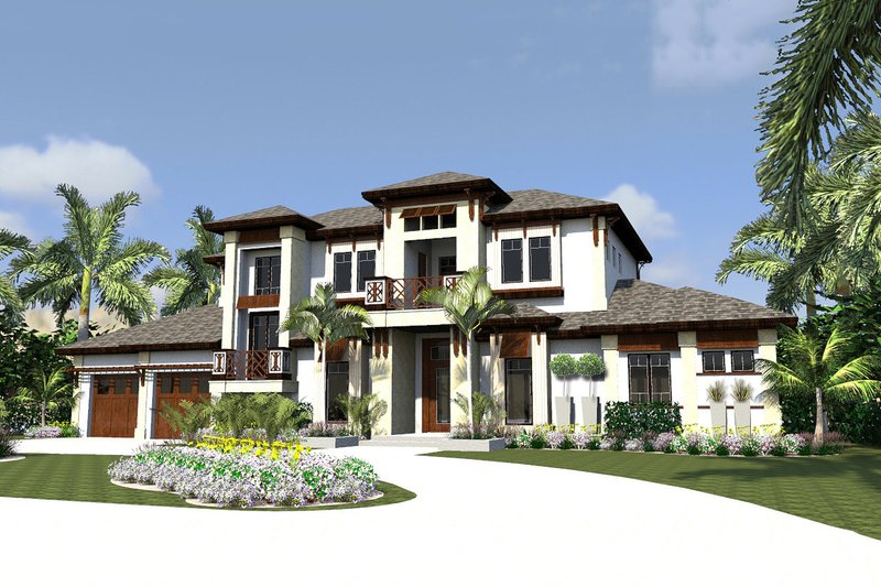 Contemporary Style House Plan - 4 Beds 6 Baths 6524 Sq/Ft Plan #548-24 Exterior - Front Elevation