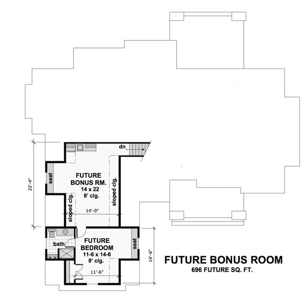 Craftsman Floor Plan - Upper Floor Plan Plan #51-572