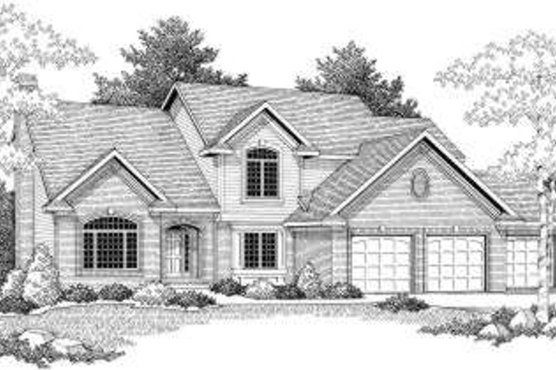 Traditional Style House Plan - 4 Beds 2.5 Baths 2745 Sq/Ft Plan #70-605 Exterior - Front Elevation