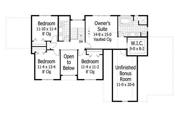 Traditional Floor Plan - Upper Floor Plan Plan #51-502