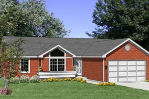 Ranch Exterior - Front Elevation Plan #116-152