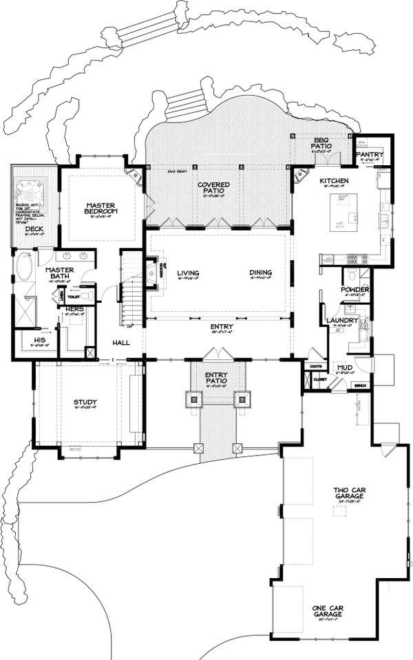 Craftsman Style House Plan - 3 Beds 2.5 Baths 3901 Sq/Ft Plan #895-11 Floor Plan - Main Floor Plan
