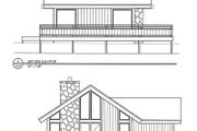 Cabin Style House Plan - 2 Beds 2 Baths 786 Sq/Ft Plan #116-104 Exterior - Rear Elevation