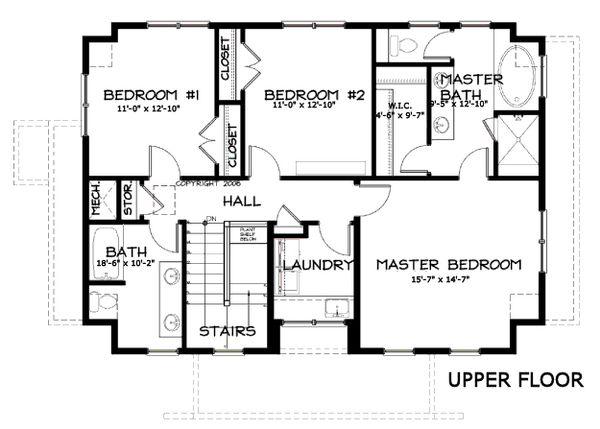 Craftsman Floor Plan - Upper Floor Plan Plan #434-5