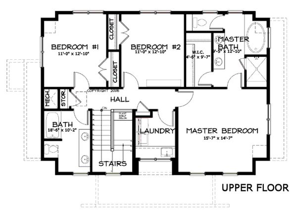 Craftsman Floor Plan - Upper Floor Plan Plan #434-5