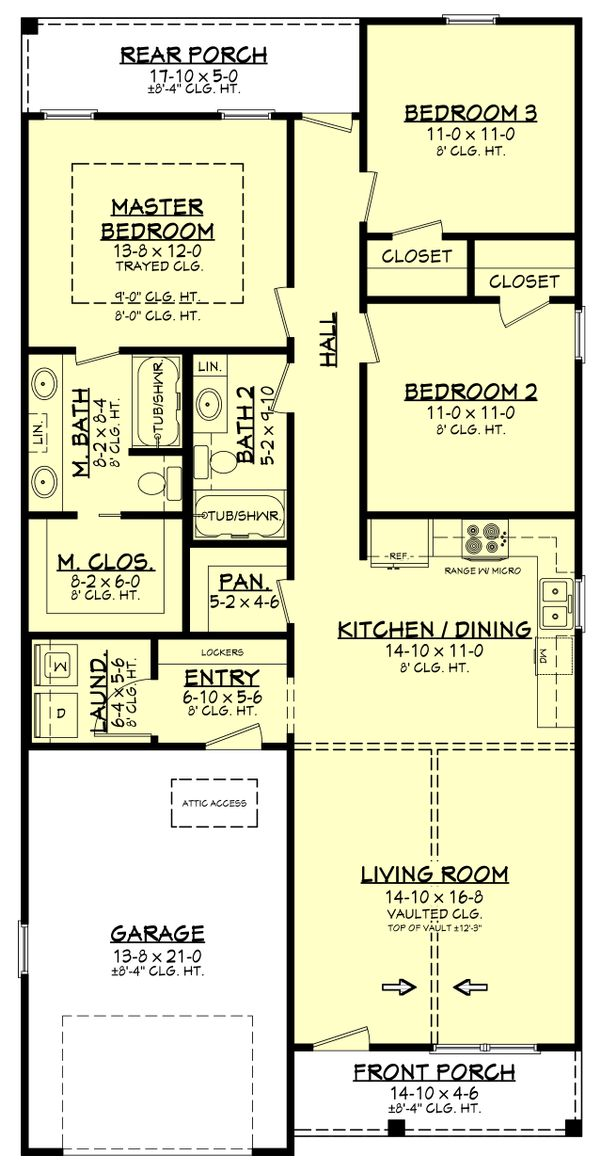 Architectural House Design - Farmhouse Floor Plan - Main Floor Plan #430-206