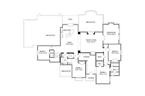 Architectural House Design - European Floor Plan - Lower Floor Plan #920-64