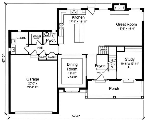 Traditional Floor Plan - Main Floor Plan Plan #46-878