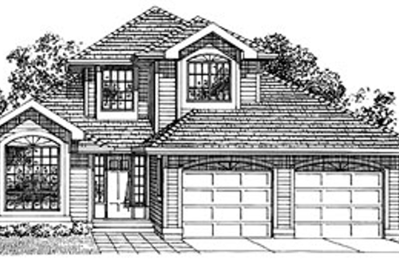 Traditional Style House Plan - 3 Beds 2.5 Baths 1855 Sq/Ft Plan #47-257 Exterior - Front Elevation