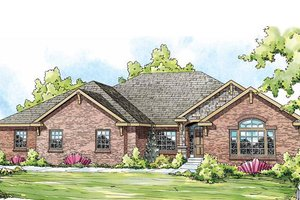 Ranch Exterior - Front Elevation Plan #124-834