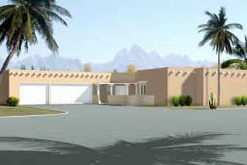 Adobe / Southwestern Style House Plan - 4 Beds 3 Baths 3630 Sq/Ft Plan #1-868 Exterior - Front Elevation