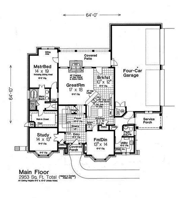 Tudor Floor Plan - Main Floor Plan Plan #310-653