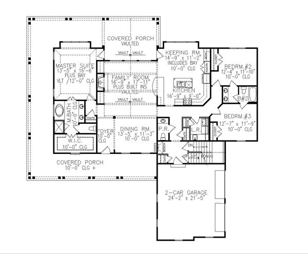 Farmhouse Floor Plan - Main Floor Plan Plan #54-394