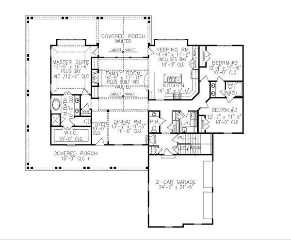 Dream House Plan - Farmhouse Floor Plan - Main Floor Plan #54-394