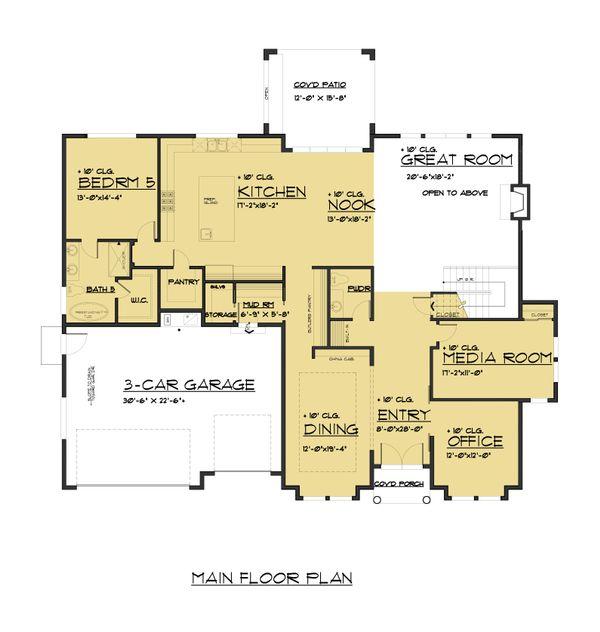 Craftsman Floor Plan - Main Floor Plan Plan #1066-48