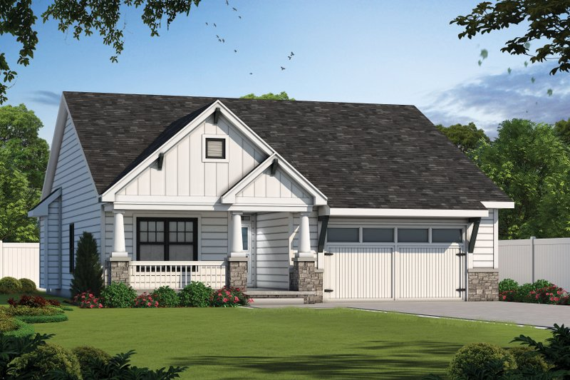 Craftsman Style House Plan - 3 Beds 2.5 Baths 1898 Sq/Ft Plan #20-2414 Exterior - Front Elevation