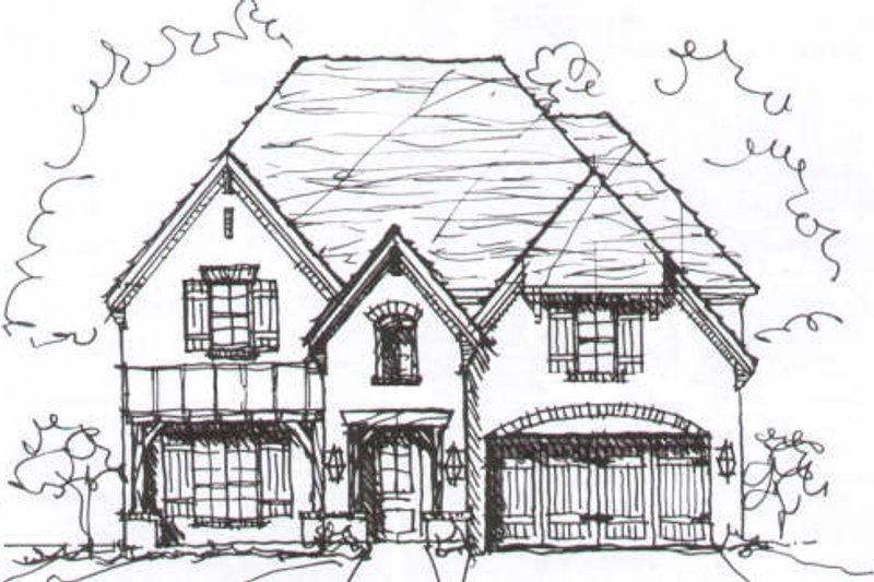 European Style House Plan - 4 Beds 3.5 Baths 3579 Sq/Ft Plan #141-209 Exterior - Front Elevation
