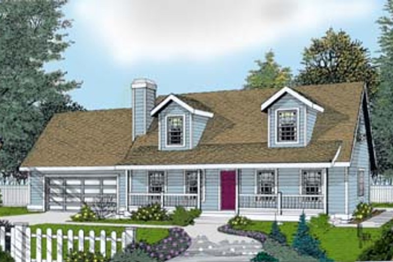 Colonial Exterior - Front Elevation Plan #100-215