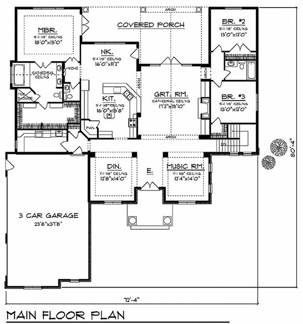 European Floor Plan - Main Floor Plan Plan #70-634