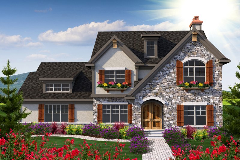 European Style House Plan - 5 Beds 4 Baths 3103 Sq/Ft Plan #70-1181 Exterior - Front Elevation