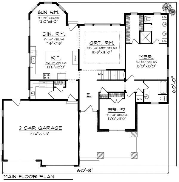 Ranch Floor Plan - Main Floor Plan Plan #70-1164