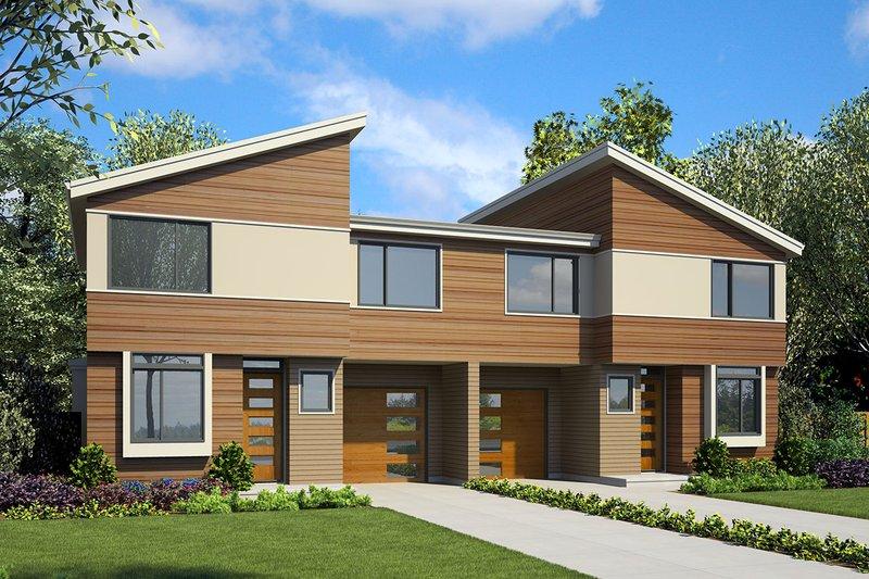 Modern Exterior - Front Elevation Plan #48-928
