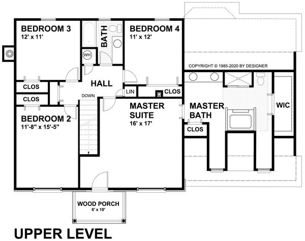 Traditional Floor Plan - Upper Floor Plan Plan #30-349