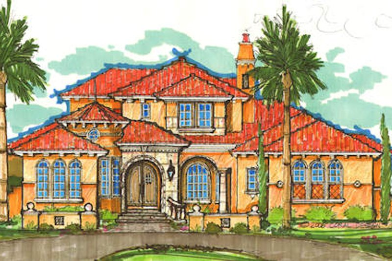 European Style House Plan - 4 Beds 4 Baths 5299 Sq/Ft Plan #135-157 Exterior - Front Elevation