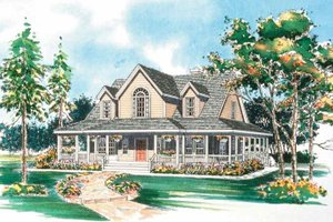 Architectural House Design - Country Exterior - Front Elevation Plan #72-112