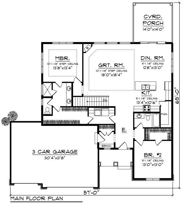Ranch Floor Plan - Main Floor Plan #70-1500