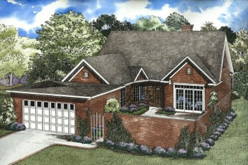 Traditional Style House Plan - 4 Beds 3 Baths 2469 Sq/Ft Plan #17-211 Exterior - Front Elevation