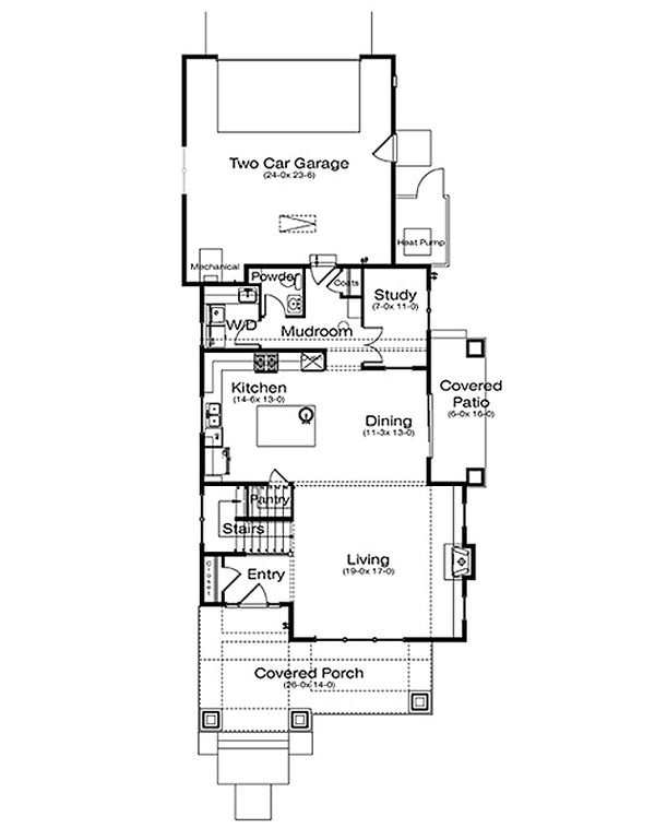 Architectural House Design - Prairie Floor Plan - Main Floor Plan #434-15