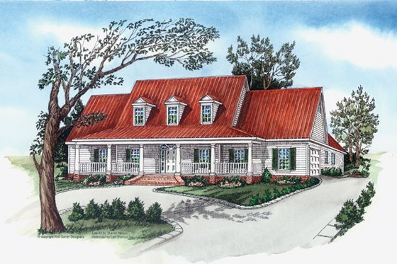 Southern Exterior - Front Elevation Plan #16-332