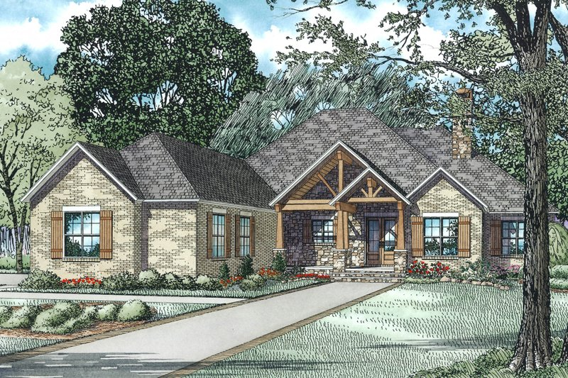 Craftsman Style House Plan - 3 Beds 2.5 Baths 2879 Sq/Ft Plan #17-2589 Exterior - Front Elevation