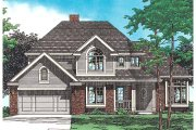 Traditional Style House Plan - 4 Beds 2.5 Baths 2089 Sq/Ft Plan #20-707 Exterior - Front Elevation
