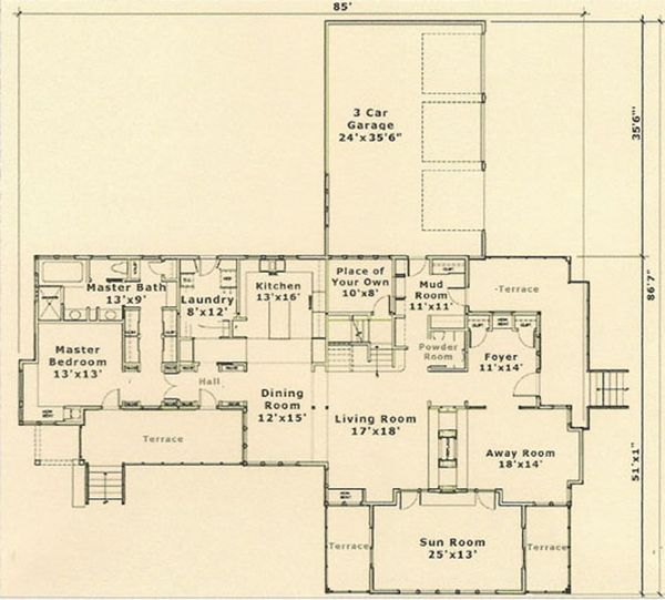 Prairie Floor Plan - Main Floor Plan Plan #454-5