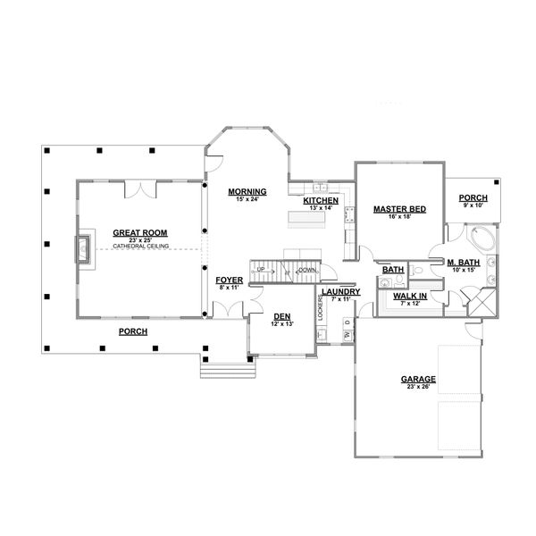 Dream House Plan - Cottage Floor Plan - Main Floor Plan #1064-67