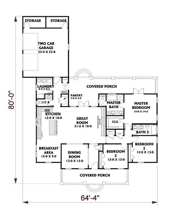 Traditional Floor Plan - Main Floor Plan #44-190