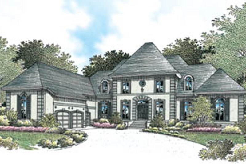 European Style House Plan - 4 Beds 5.5 Baths 4440 Sq/Ft Plan #45-177 Exterior - Front Elevation