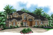 European Style House Plan - 3 Beds 3.5 Baths 6672 Sq/Ft Plan #27-471 Exterior - Front Elevation
