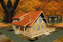 Log Exterior - Front Elevation Plan #117-118