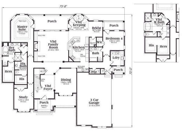 European Floor Plan - Main Floor Plan Plan #419-163