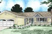 Ranch Style House Plan - 3 Beds 2 Baths 1314 Sq/Ft Plan #126-111 Exterior - Front Elevation