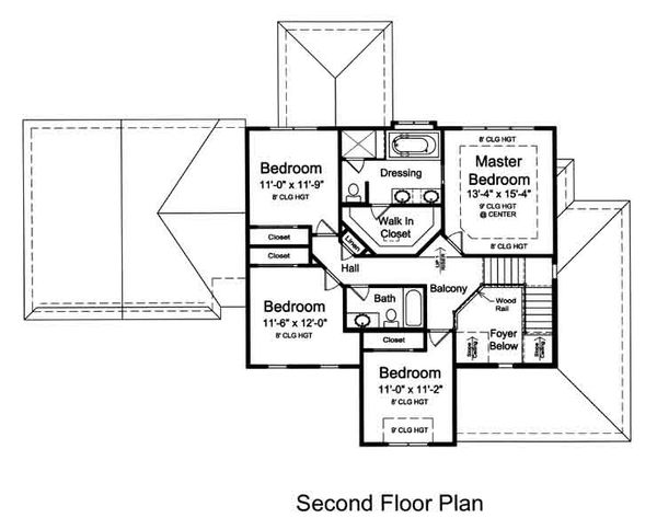 Traditional Floor Plan - Upper Floor Plan Plan #46-491