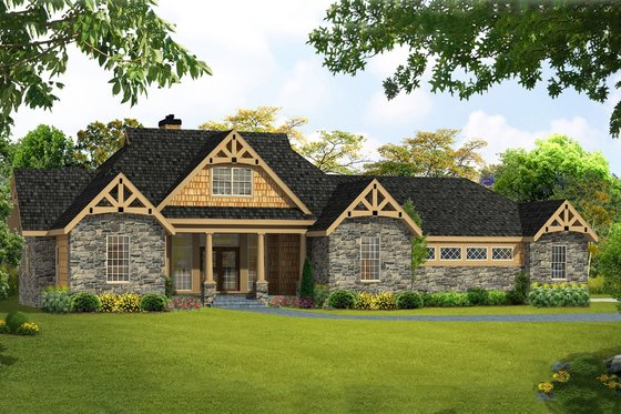 Craftsman Exterior - Front Elevation Plan #456-28