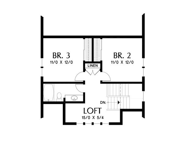 Farmhouse Floor Plan - Upper Floor Plan #48-995