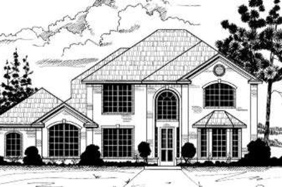European Exterior - Front Elevation Plan #317-103