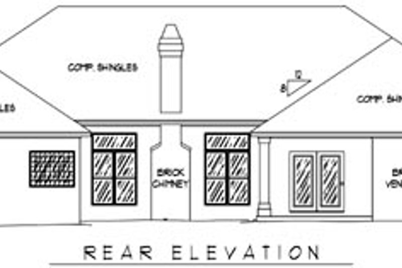 Traditional Exterior - Rear Elevation Plan #11-122 - Houseplans.com
