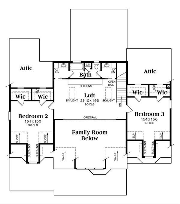 Country Floor Plan - Upper Floor Plan Plan #419-245
